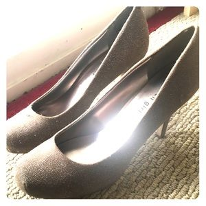 Madden girl sparkly taupe heels size 9